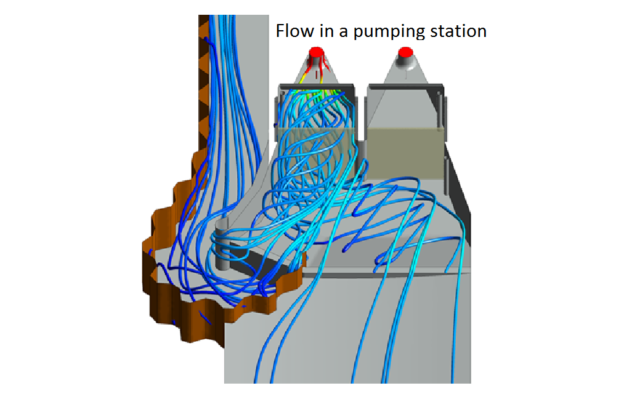 water flow in a pumping station
